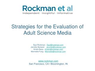 Strategies for the Evaluation of Adult Science Media