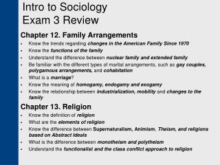 Intro to Sociology  Exam 3 Review