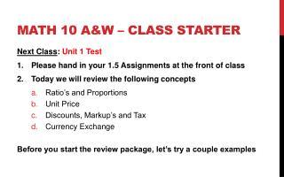 Math 10 A&W � Class starter