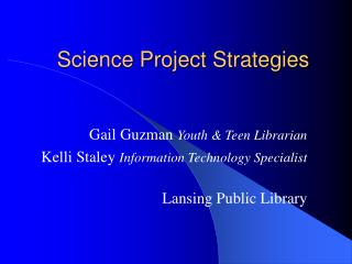 Science Project Strategies Slides