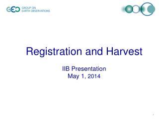 Registration and Harvest IIB Presentation May 1 , 2014