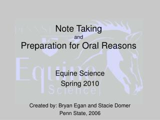 Note Taking and Preparation for Oral Reasons