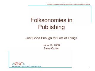 Folksonomies in Publishing
