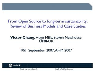 From Open Source to long-term sustainability: Review of Business Models and Case Studies