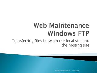 Web Maintenance  Windows FTP