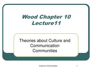Wood Chapter 10 Lecture 1 1
