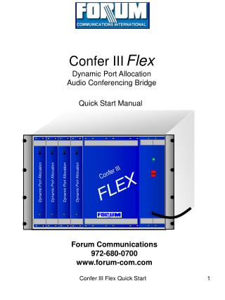 Confer III Flex Dynamic Port Allocation Audio Conferencing Bridge