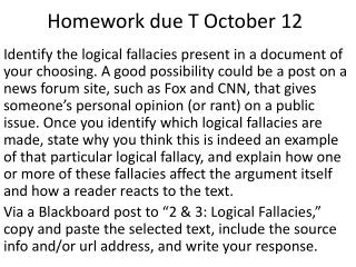 Homework due T October 12