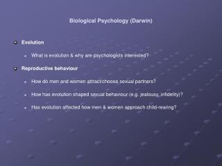 Biological Psychology (Darwin)