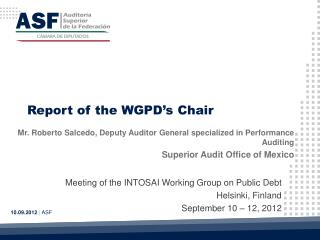 Report of the WGPD's Chair