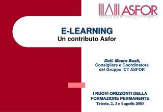E-LEARNING Un contributo Asfor