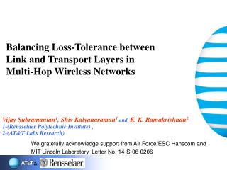 Balancing Loss-Tolerance between  Link and Transport Layers in  Multi-Hop Wireless Networks