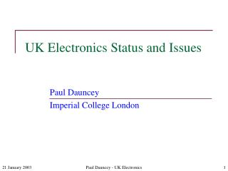 UK Electronics Status and Issues