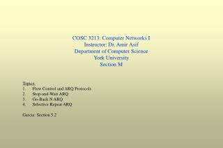 COSC 3213: Computer Networks I Instructor: Dr. Amir Asif Department of Computer Science