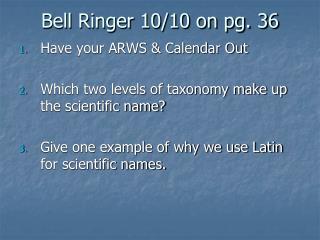 Bell Ringer 10/10 on pg. 36