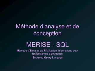 Méthode d'analyse et de conception