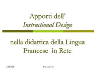 Apporti dell'  Instructional Design nella didattica della Lingua Francese in Rete
