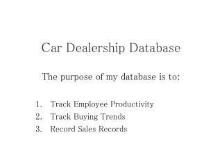 Car Dealership Database