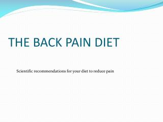 THE BACK PAIN DIET
