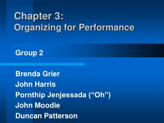 Chapter 3: Organizing for Performance