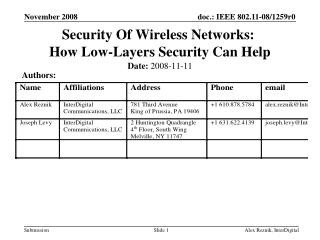 Security Of Wireless Networks:   How Low-Layers Security Can Help