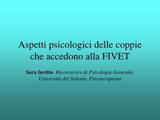 Aspetti psicologici delle coppie che accedono alla FIVET