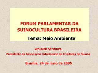FORUM PARLAMENTAR DA SUINOCULTURA BRASILEIRA Tema: Meio Ambiente