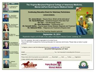 To Register, please e-mail the following information  to  speart@vt  , call 703-771-6842