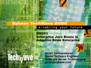 DM203 Enterprise Java Beans in Adaptive Sever Enterprise