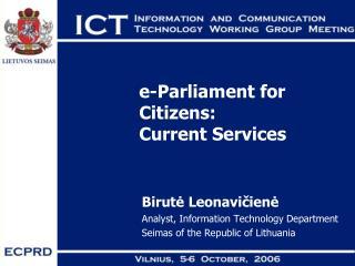 e-Parliament for Citizens:  Current Services