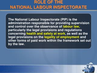 ROLE OF THE  NATIONAL LABOUR INSPECTORATE