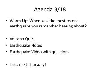 Agenda 3/18