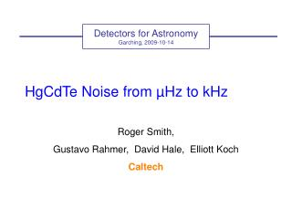 HgCdTe Noise from  µHz to kHz