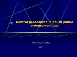 Control procedures in polish public procurement law
