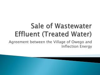 Sale of Wastewater Effluent (Treated Water)