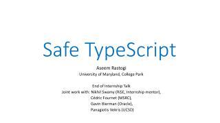 Safe TypeScript