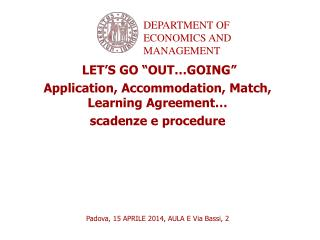 """LET'S GO """"OUT…GOING"""" Application, Accommodation, Match, Learning Agreement… scadenze e procedure"""