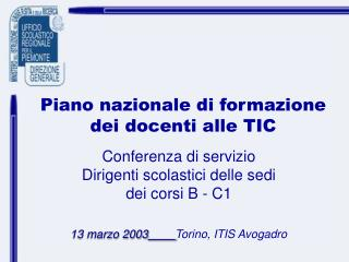 Piano nazionale di formazione dei docenti alle TIC