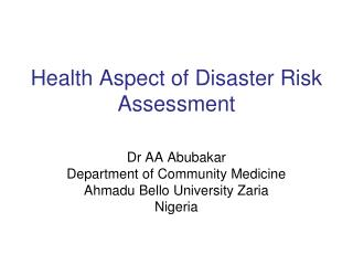 Health Aspect of Disaster Risk Assessment