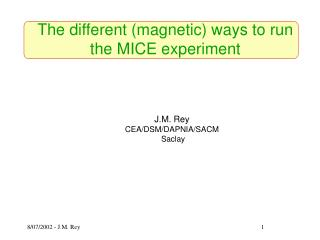 The different (magnetic) ways to run the MICE experiment