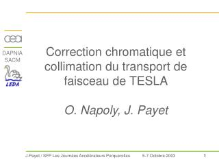 Correction chromatique et collimation du transport de faisceau de TESLA O. Napoly, J. Payet
