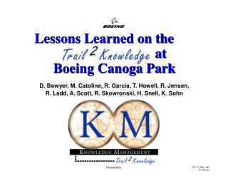 D. Bowyer, M. Catoline, R. Garcia, T. Howell, R. Jensen,  R. Ladd, A. Scott, R. Skowronski, H. Snell, K. Sohn