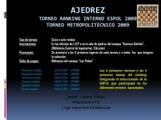 AJEDREZ TORNEO RANKING INTERNO ESPOL 2009 TORNEO METROPOLITÉCNICO 2009