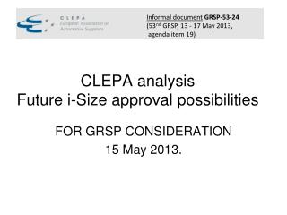 CLEPA analysis Future i-Size approval possibilities