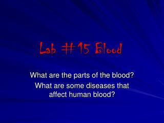 Lab #15 Blood
