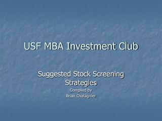 USF MBA Investment Club