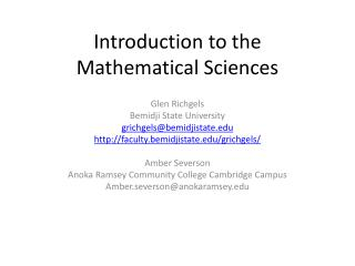 Introduction to the  Mathematical Sciences