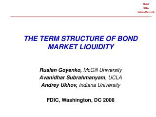 THE TERM STRUCTURE OF BOND MARKET LIQUIDITY