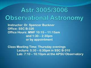 Astr 3005/3006 Observational Astronomy