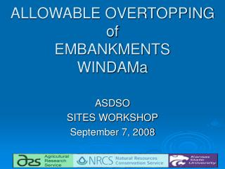 ALLOWABLE OVERTOPPING of EMBANKMENTS WINDAMa